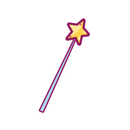 Magic wand of fairytale fantasy and love theme Isolated design Vector illustration