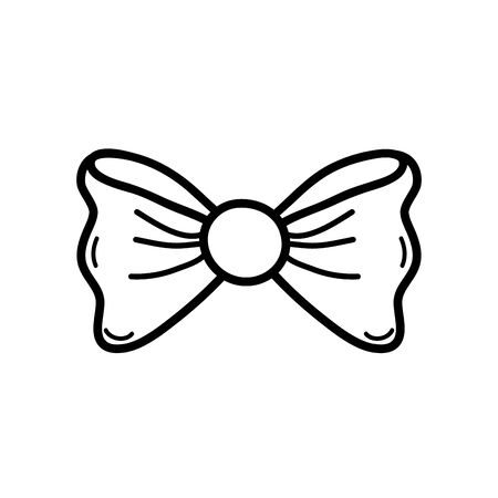 Bowtie of ribbon cloth and fashion theme Isolated design Vector illustration