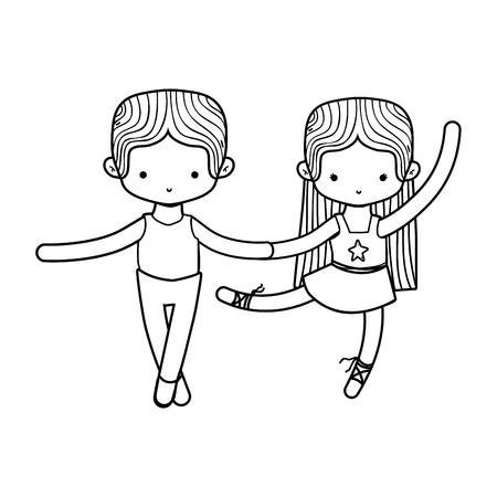 소녀와 발레 스포츠 및 건강 테마의 소년 춤 격리 된 디자인 벡터 일러스트 레이 션 일러스트
