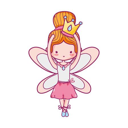 Girl dancing ballet  with wings Vectores