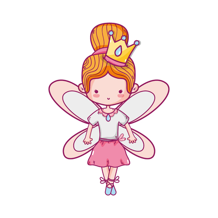 Girl dancing ballet  with wings Illustration