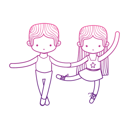 Dancing girl and boy of ballet sport and health theme Isolated design Vector illustration