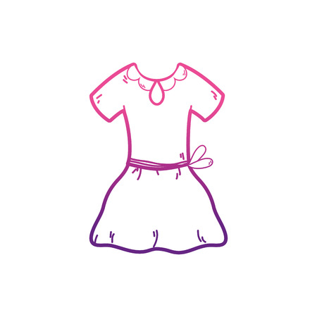 Dress of cloth fashion and style theme Isolated design Vector illustration Çizim