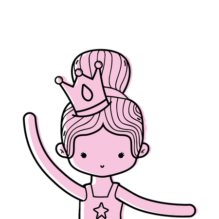 color girl practice ballet with bun hair and crown vector illustration Vettoriali
