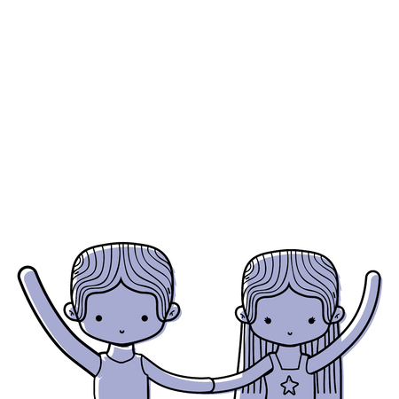 color couple dancing and practice performance ballet vector illustration