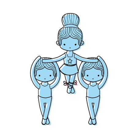 Color group dancing ballet with professional uniform vector illustration