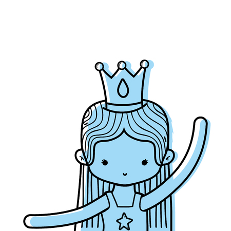 color girl practice ballet with straight hair and crown vector illustration