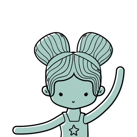 color girl practice ballet with two buns hair design vector illustration