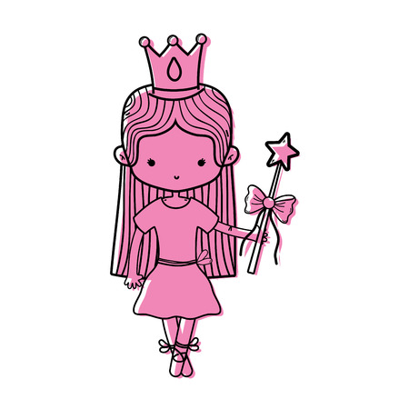 color girl dancing ballet with magic wand vector illustration
