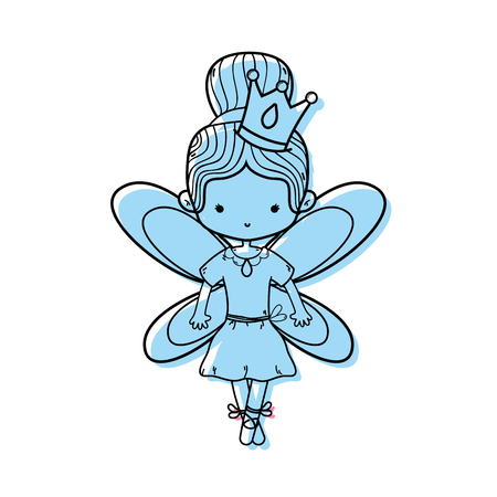 color girl dancing ballet with bun hair and wings vector illustration