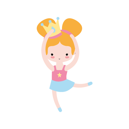 girl practice perfomance with crown decoration and professional clothes vector illustration Illustration