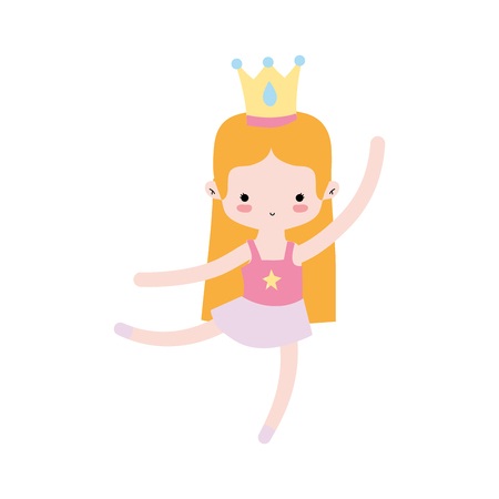 girl dancing ballet with professional clothes and crown vector illustration
