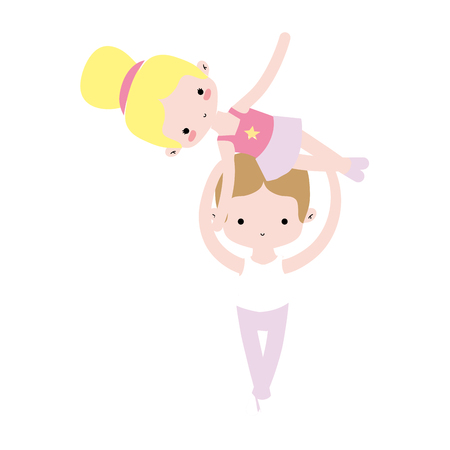 couple dancing ballet with elegance clothes vector illustration