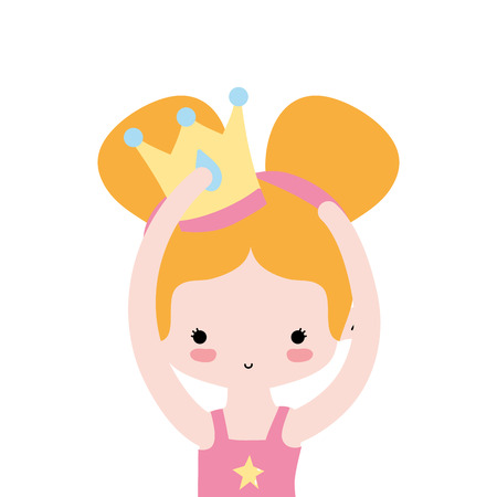 girl practice performance ballet with two buns hair and crown vector illustration Illustration