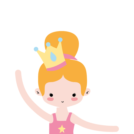 girl practice ballet with bun hair and crown vector illustration Illustration