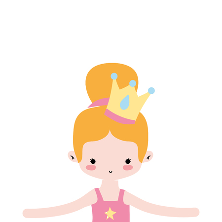 girl dancing ballet with bun hair and crown vector illustration Illustration