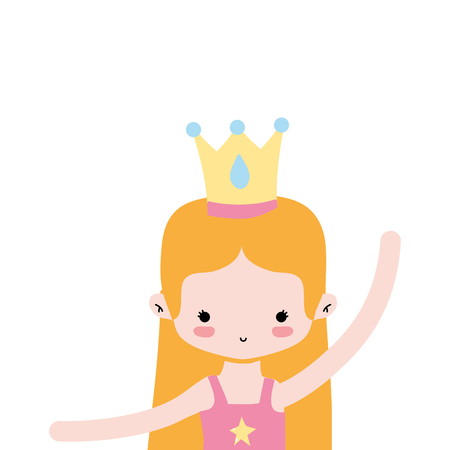 girl practice ballet with straight hair and crown vector illustration