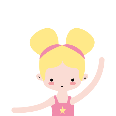 girl practice ballet with two buns hair design vector illustration
