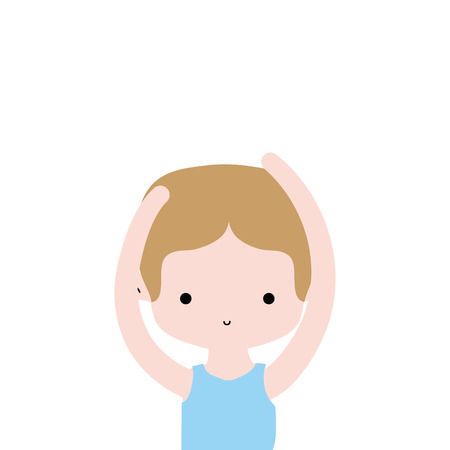 boy practice ballet with t-shirt and hairstyle vector illustration Illustration
