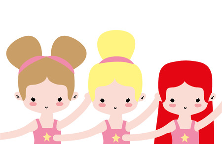girls dancing and practice ballet performance vector illustration