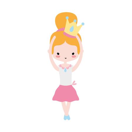 girl dancing ballet with crown design vector illustration Illustration