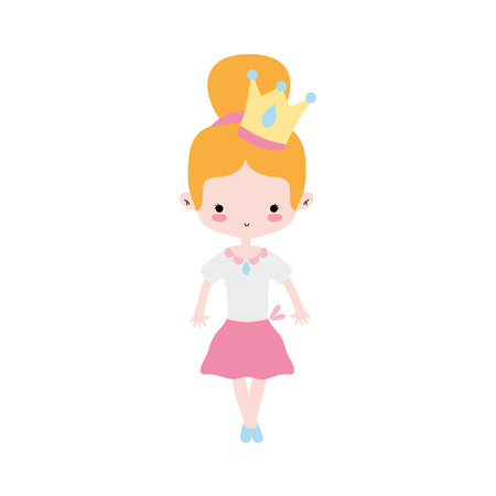 girl dancing ballet with crown decoration vector illustration