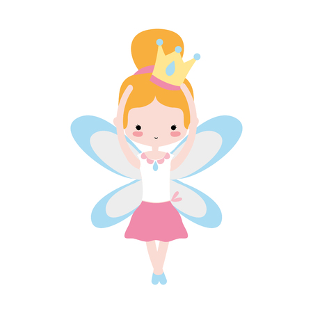 girl dancing ballet with crown and wings design vector illustration