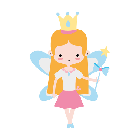 girl dancing ballet with crown and straight hair vector illustration