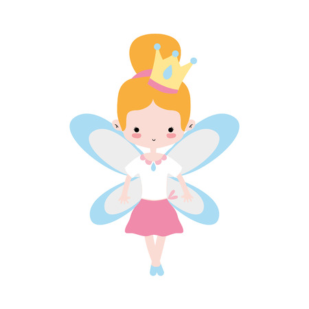 girl dancing ballet with bun hair and wings vector illustration