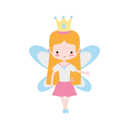 girl dancing ballet with straight hair and wings vector illustration