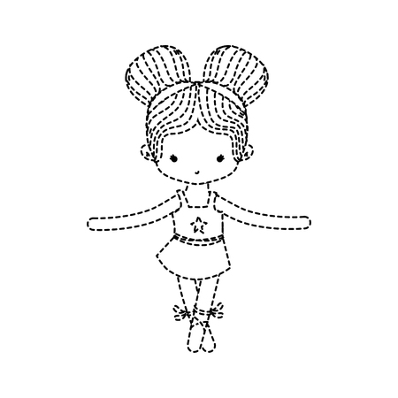 dotted shape girl dancing to practice ballet with two buns hair vector illustration Illustration