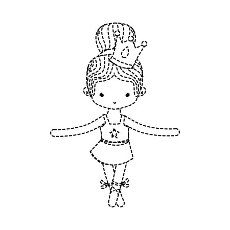 dotted shape girl practice performance ballet with bun hair design and professional clothes vector illustration Illustration