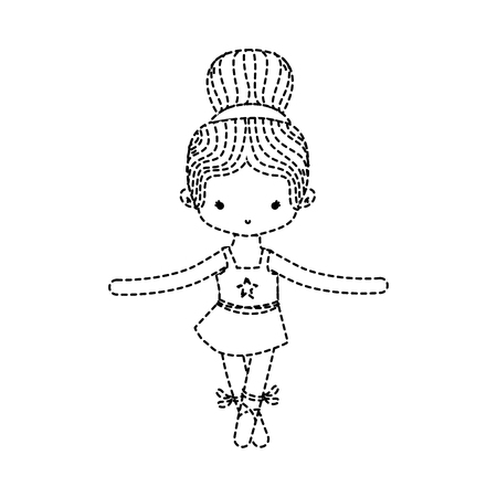 dotted shape girl dancing ballet with professional shoes vector illustration