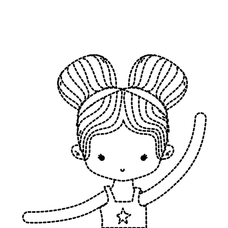dotted shape girl practice ballet with two buns hair design vector illustration Illustration