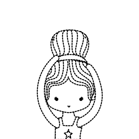 dotted shape girl practice performance ballet with bun hair design vector illustration Illustration