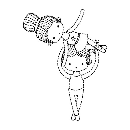 Dotted shape couple dancing ballet with elegance clothes vector illustration Illustration