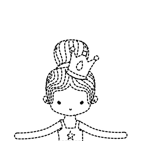 dotted shape girl dancing ballet with bun hair and crown Stock Photo