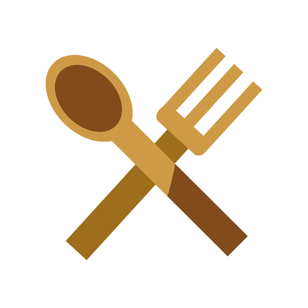 Spoon and fork of cutlery dishware and tool theme Isolated design Vector illustration