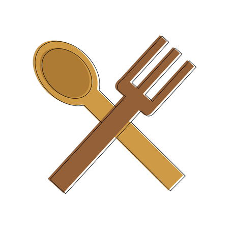 Spoon and knife of cutlery dishware and tool theme Isolated design Vector illustration