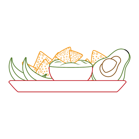 Nachos of mexican and fast food theme Isolated design Vector illustration