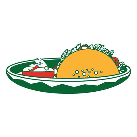 Taco of mexican and fast food theme Isolated design Vector illustration