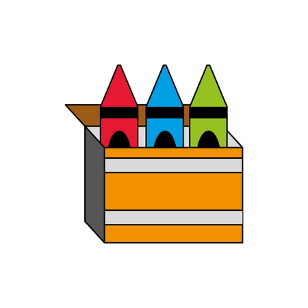 Crayon box of tool write and office theme Isolated design Vector illustration
