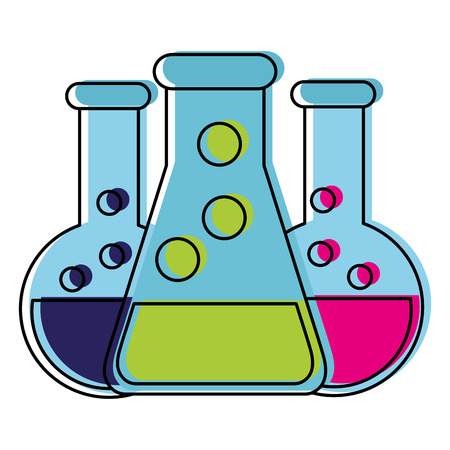 Flask of science laboratory and chemistry theme Isolated design Vector illustration