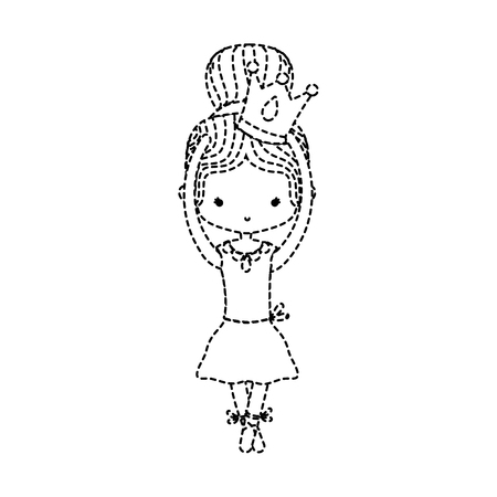 dotted shape girl dancing ballet with crown design