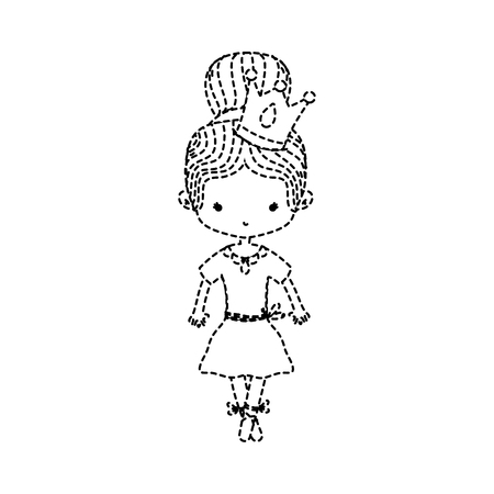 dotted shape girl dancing ballet with crown decoration