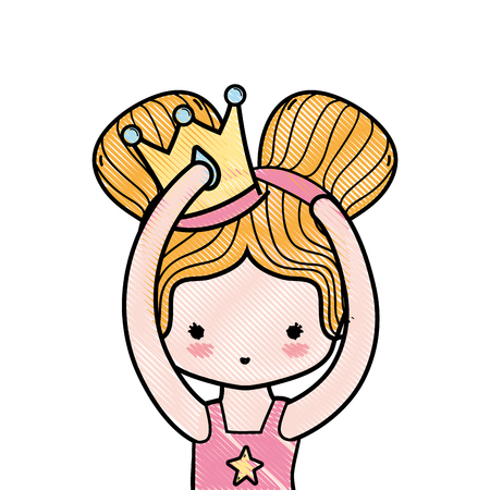 grated girl practice performance with two buns hair and crown Illustration