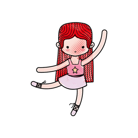 grated ballerina dancer ballet with straight hair and clothes