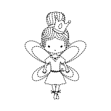 dotted shape girl dancing ballet with bun hair and wings Illustration