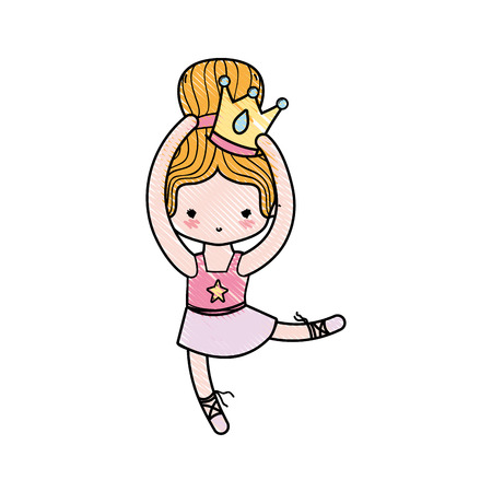 grated girl dancing ballet with crown decoration and bun hair