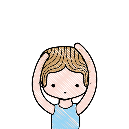 grated boy practice ballet with t-shirt and hairstyle Illustration